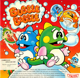 Portada del disco de Bubble Bobble para Commodore Amiga, 1988