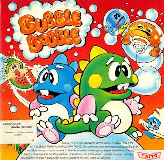Portada del disco de Bubble Bobble para Commodore Amiga, 1988