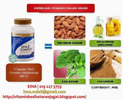 keperluan vitamin e dalam sehari, vitamin e shaklee