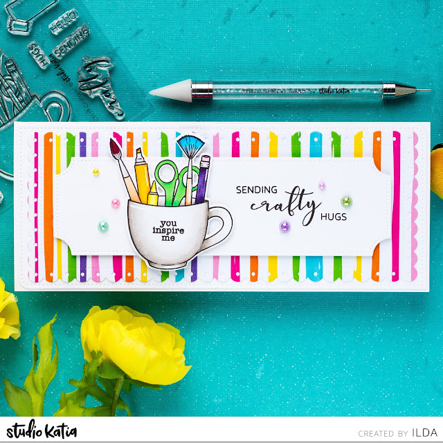 Slimline, Crafty Hugs, Friendship Card, Studio Katia, Card Making, Stamping, Die Cutting, handmade card, ilovedoingallthingscrafty, Stamps, how to, Craftastic, Studio Katia pearls, rainbow