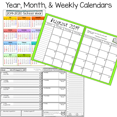 editable student planner calendar options Terri's Teaching Treasures