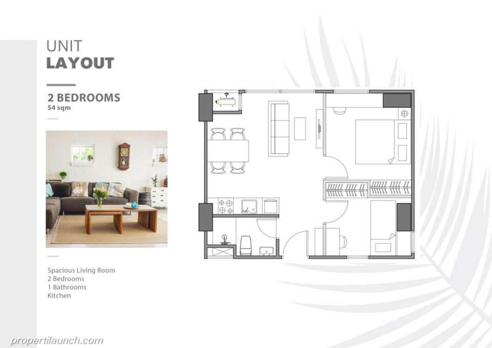 Unit Layout Apartemen The Burj Alam Sutera tipe 2 BR