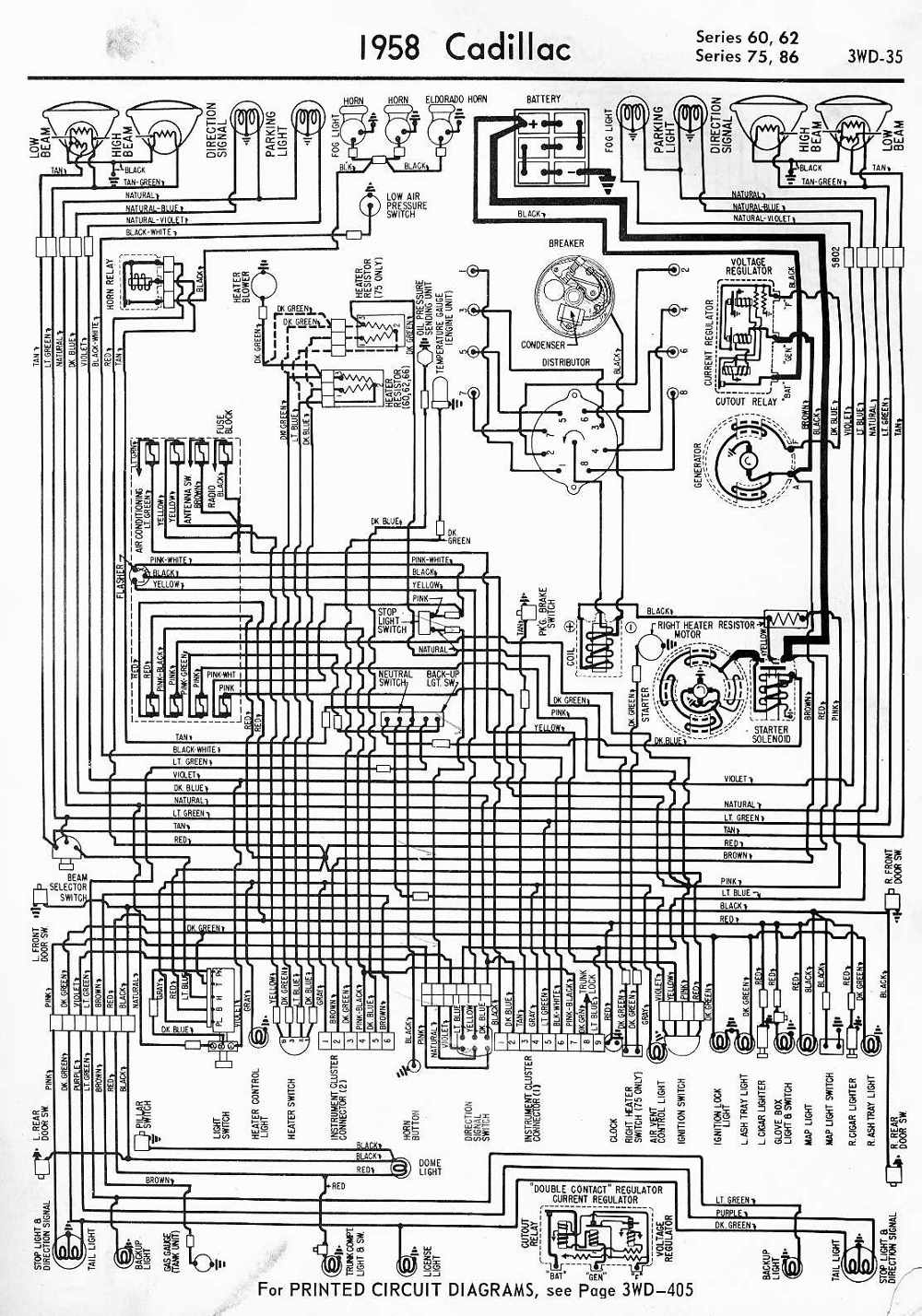 Wiring Diagrams Schematics 1958 Cadillac Series 60  62  75  And 86
