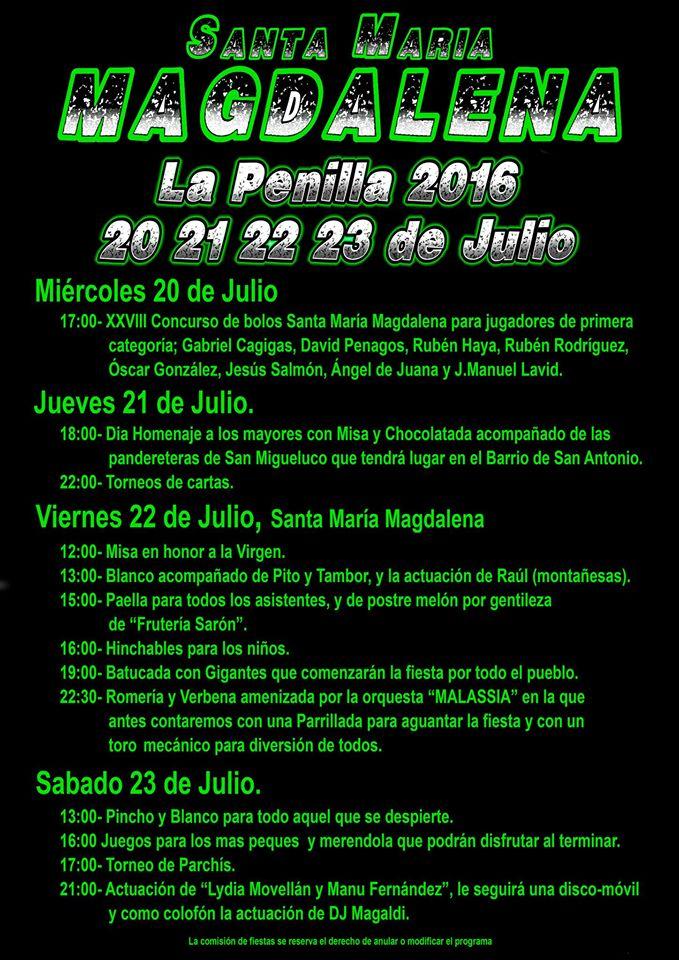 Fiestas de Santa Maria Magdalena en La Penilla 2016