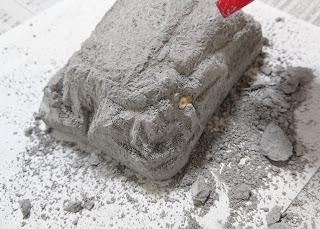 化石の一部分が見える