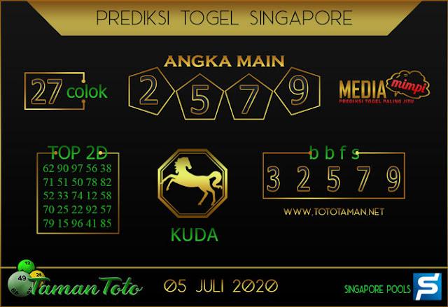 Prediksi Togel SINGAPORE TAMAN TOTO 05 JULI 2020