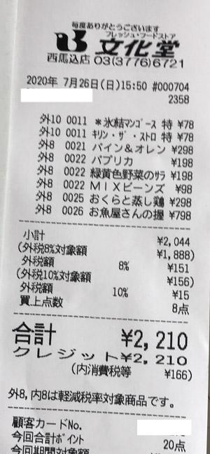 文化堂 西馬込店 2020/7/26 のレシート