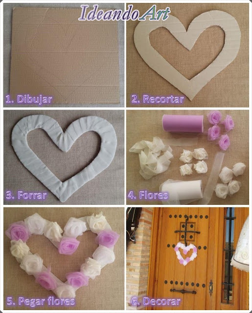 Corona corazón DIY con flores