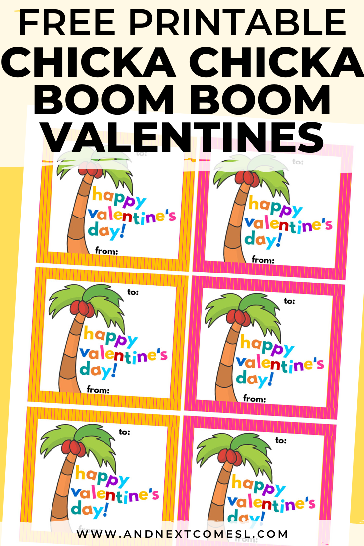 Free printable Valentines for kids based on the book Chicka Chicka Boom Boom