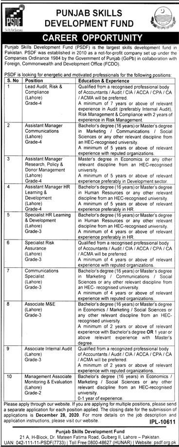 Punjab Skills Development Fund PSDF Jobs 2020