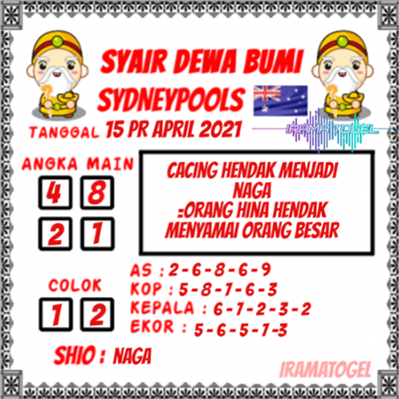 Syair Dewa Bumi Sidney Kamis 15 April 2021