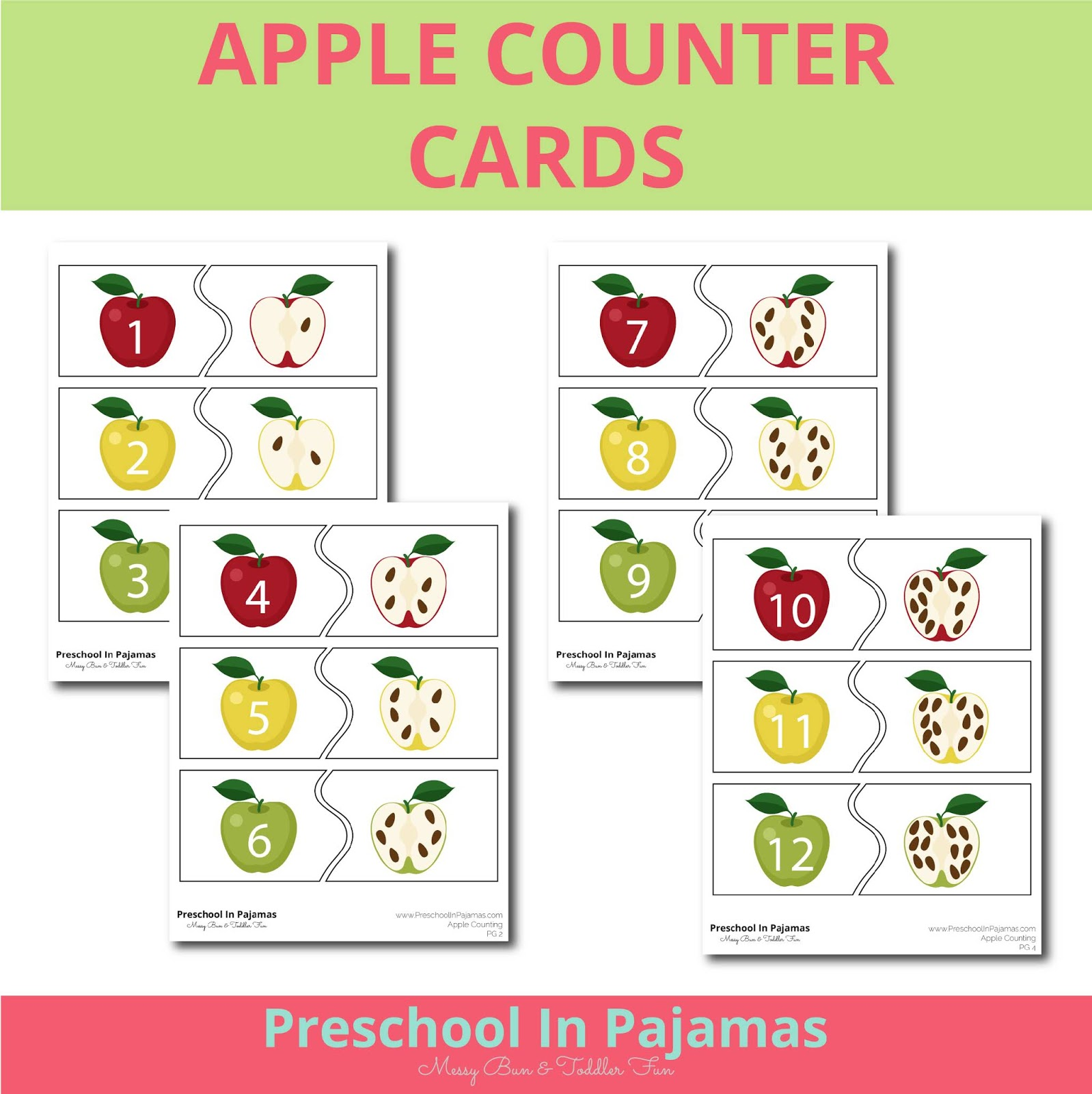 Free Apple Counting Cards Printable