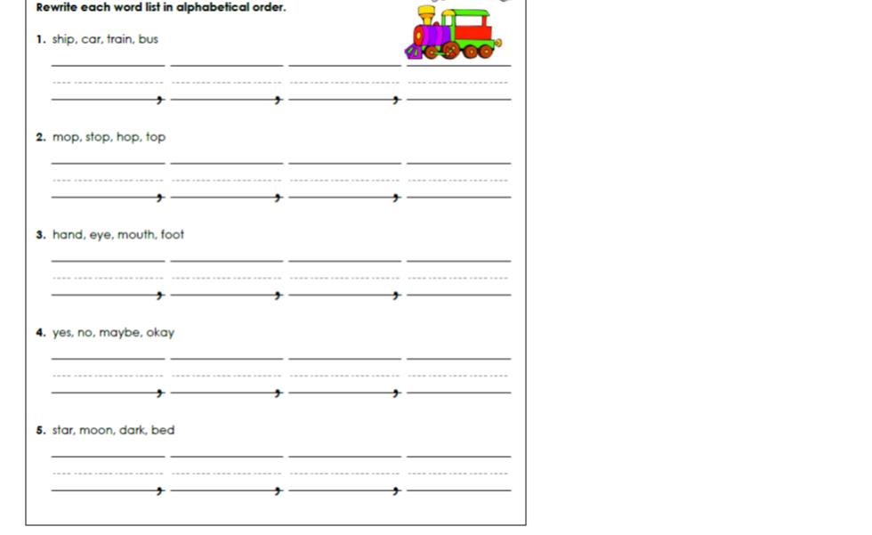 Alphabetical order homework