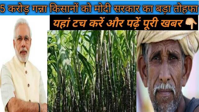 5  करोड़ गन्ना किसानों को मोदी सरकार देगी चीनी निर्यात पर 3500 करोड़ रुपए की सब्सिडी   modi yojana for ganna kisaan