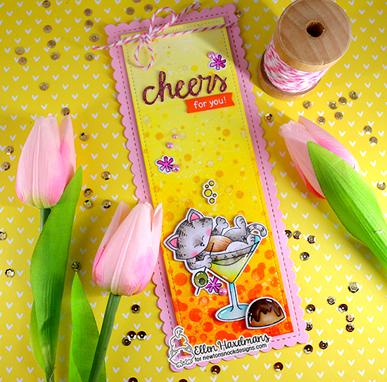 Cheers for You Card by Ellen Haxelmans   Slimline Die Set, Bubbly Stencil, and Newton Celebrates Stamp Set by Newton's Nook Designs #newtonsnook