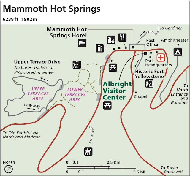 mammoth hot springs map yellowstone