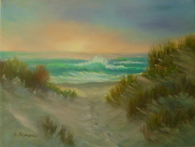 Sand Dunes with Foot Prints in Beach Painting