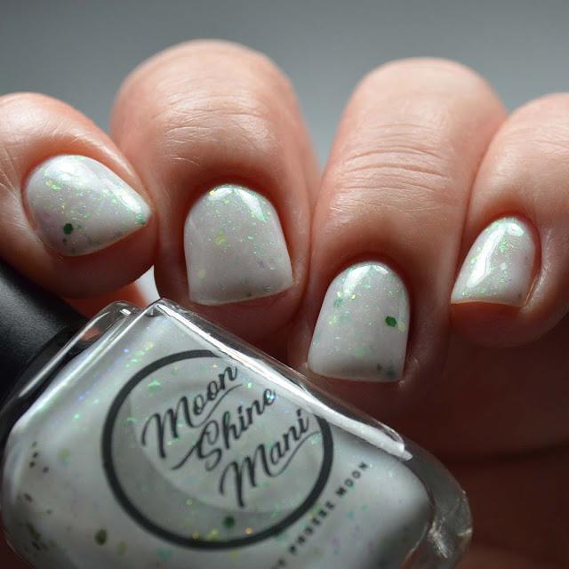 white glitter nail polish low light swatch