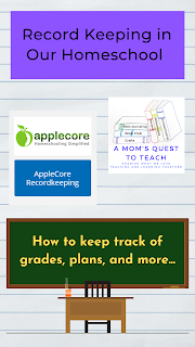 Text: Record Keeping in Our Homeschool; How to keep track of grades, plans, and more; Applecore logo and A Mom's Quest to Teach logo