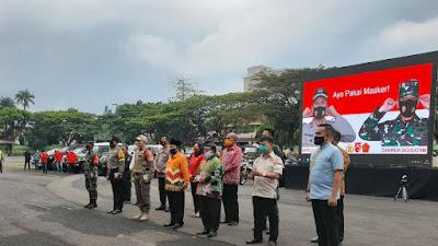 Kampanye Pakai Masker Polda Lampung di Lapangan Saburai
