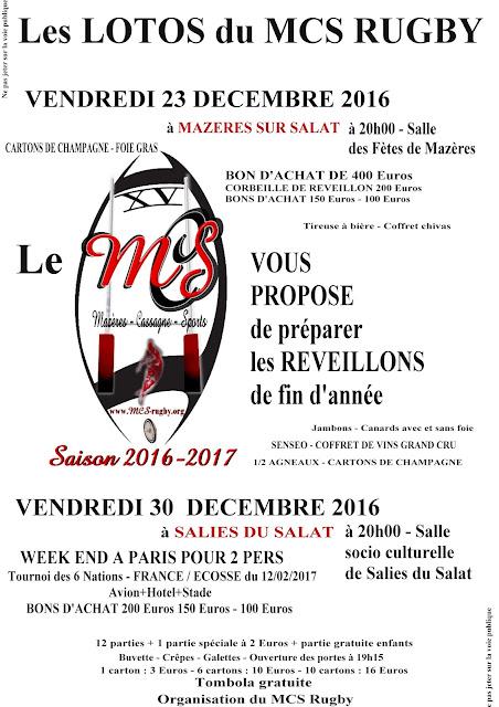Deux dates à retenir 23 et 30 Décembre 2016