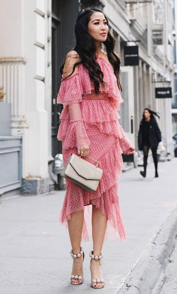 fashion trends | heels + bag + pink ruffle dress