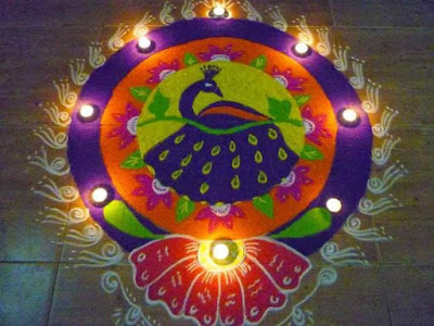 Rangoli with Peacock Design for New Year