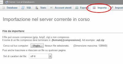 Come importare un database mysql con phpMyAdmin