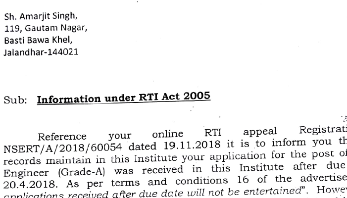 NCERT Information under RTI Act 2005
