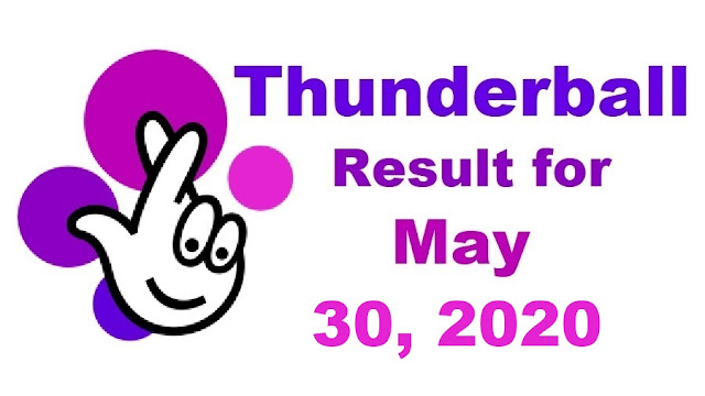 Thunderball Results for Saturday, May 30, 2020