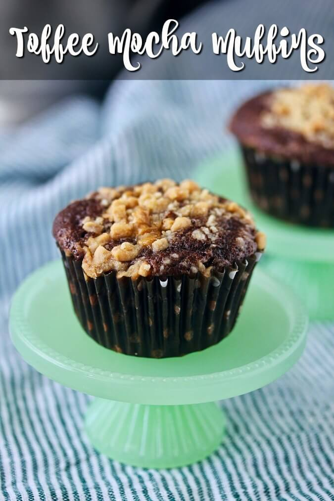 These toffee mocha muffins will please your toffee, chocolate, and coffee lovers. It's like a Heath Bar and a cup of coffee rolled up into a muffin. Plus, there are chocolate chips.