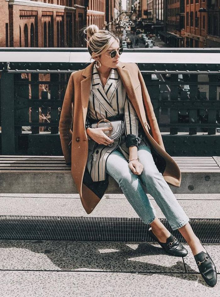 best fall outfit idea to try this season / coat + loafers + striped blazer + jeans