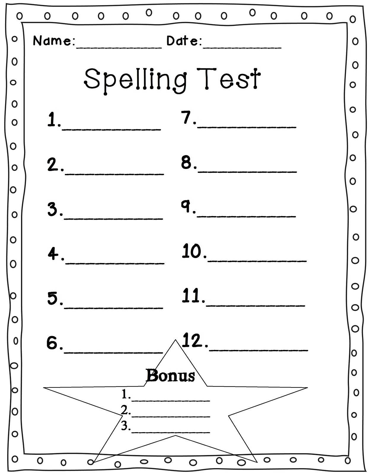 Mrs. Glover's First Grade Owls: Spelling Test Sheet