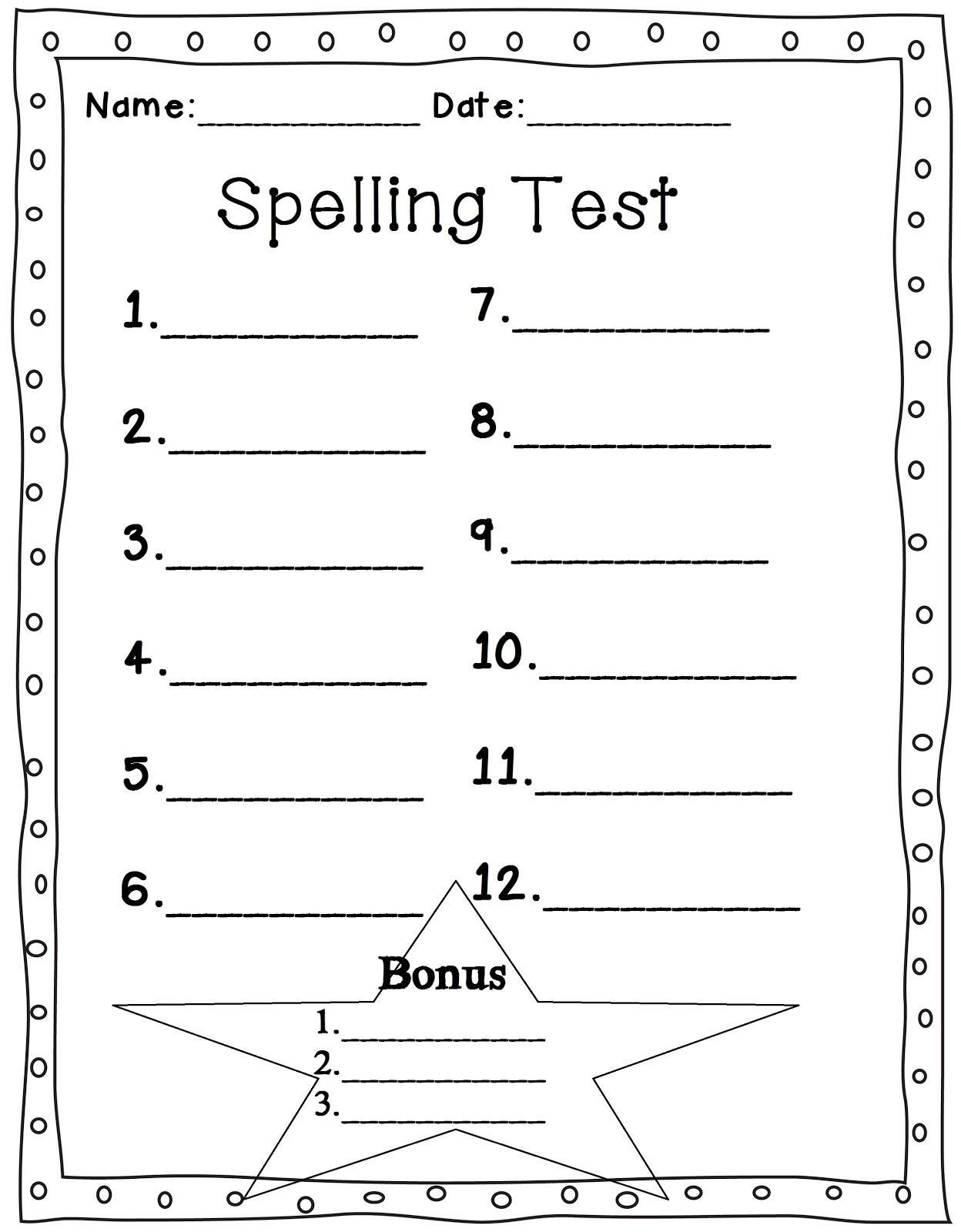 Mrs Glover S First Grade Owls Spelling Test Sheet