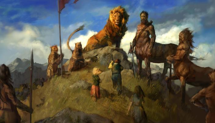 Imagem: aquarela com três crianças, um menino e duas meninas, em roupas de época, se aproximando de um enorme leão em cima de uma colina, ladeado de dois guepardos e vários centauros, criaturas meio-homens e meio-cavalos, com a pele escura e segurando espadas, escudos e lanças.