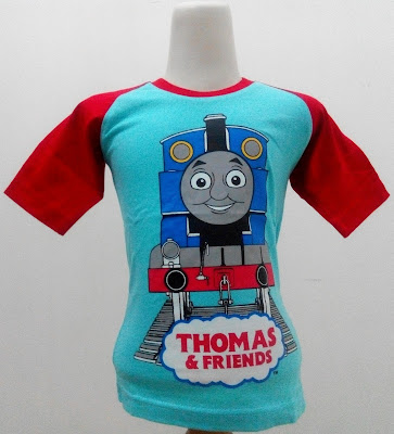 Kaos Raglan Anak Karakter Thomas and Friends 4 Biru
