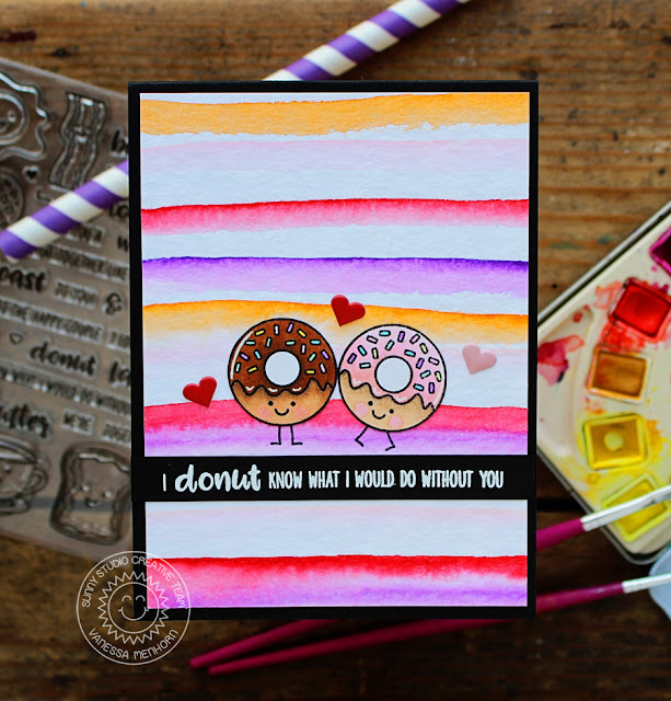 Sunny Studio Stamps: Breakfast Puns Watercolor Background Love Themed Card by Vanessa Menhorn