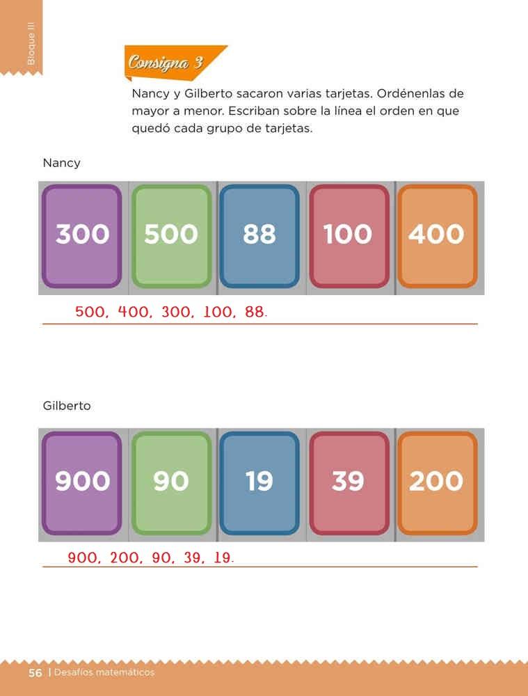 Tarjetas ordenadas desafío 29 bloque 3 Desafíos Matemáticos primer grado pagina 56