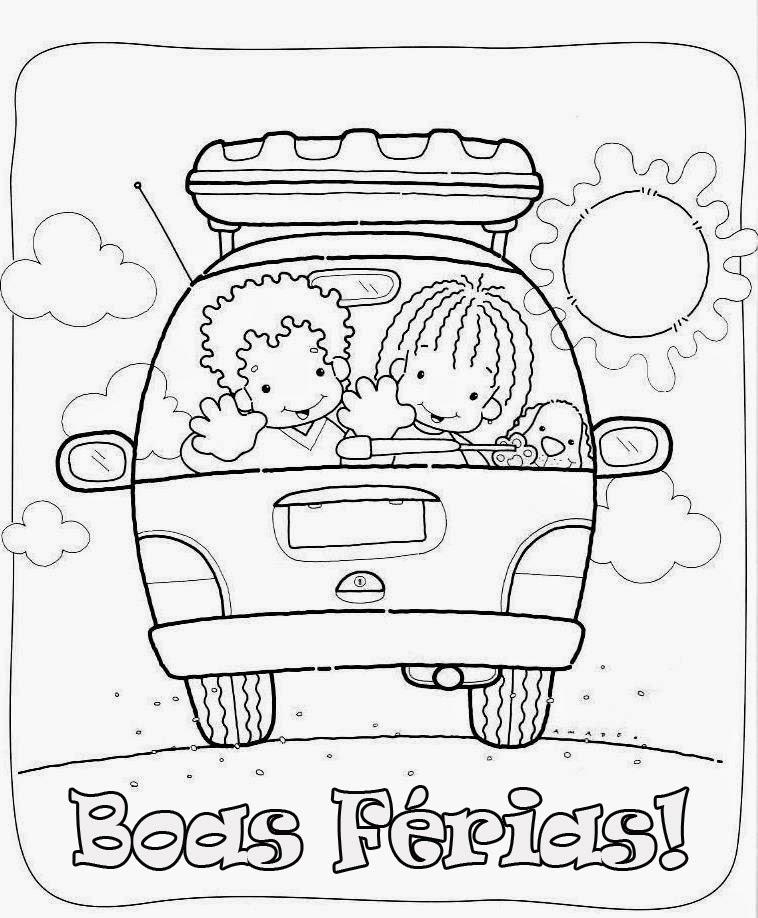 Desenhos de Férias para pintar, colorir, imprimir! Desenhos de crianças brincando no verão, praia, calor