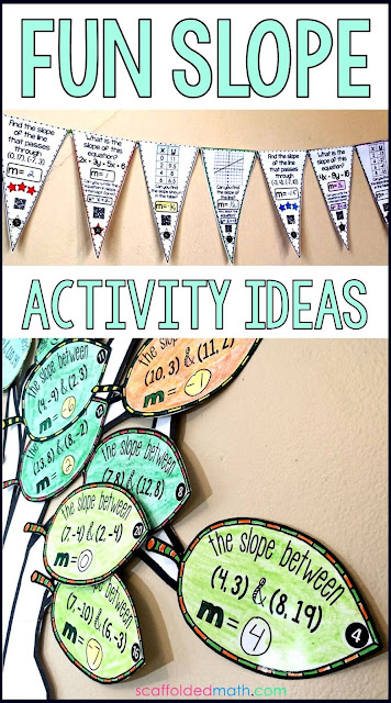 Are you searching for fun slope activity ideas? In this post are a bunch of slope activities for 8th grade math and algebra including a free pdf slope activity.