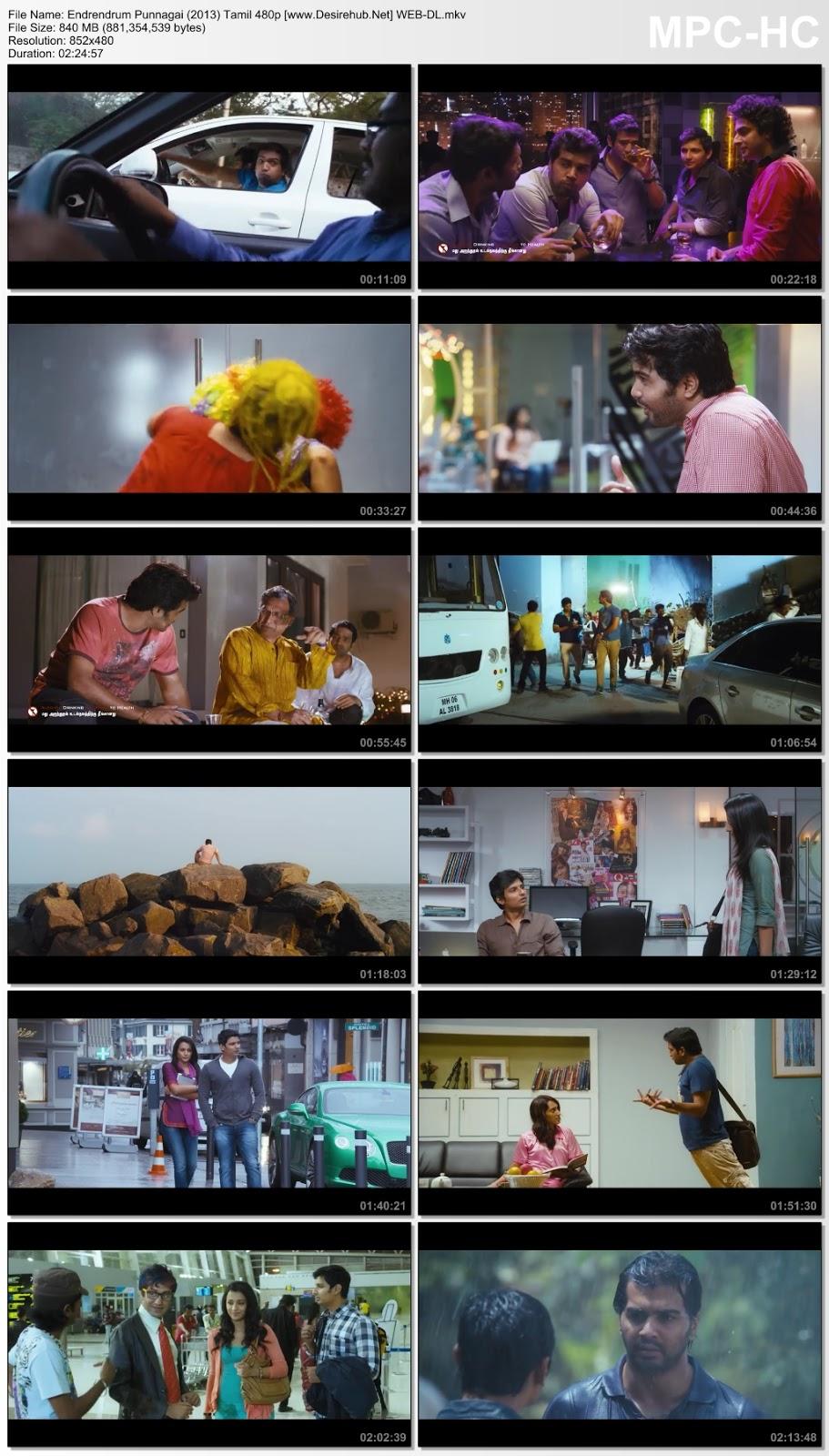 Endrendrum Punnagai (2013) Tamil 480p WEB-DL  800MB Desirehub