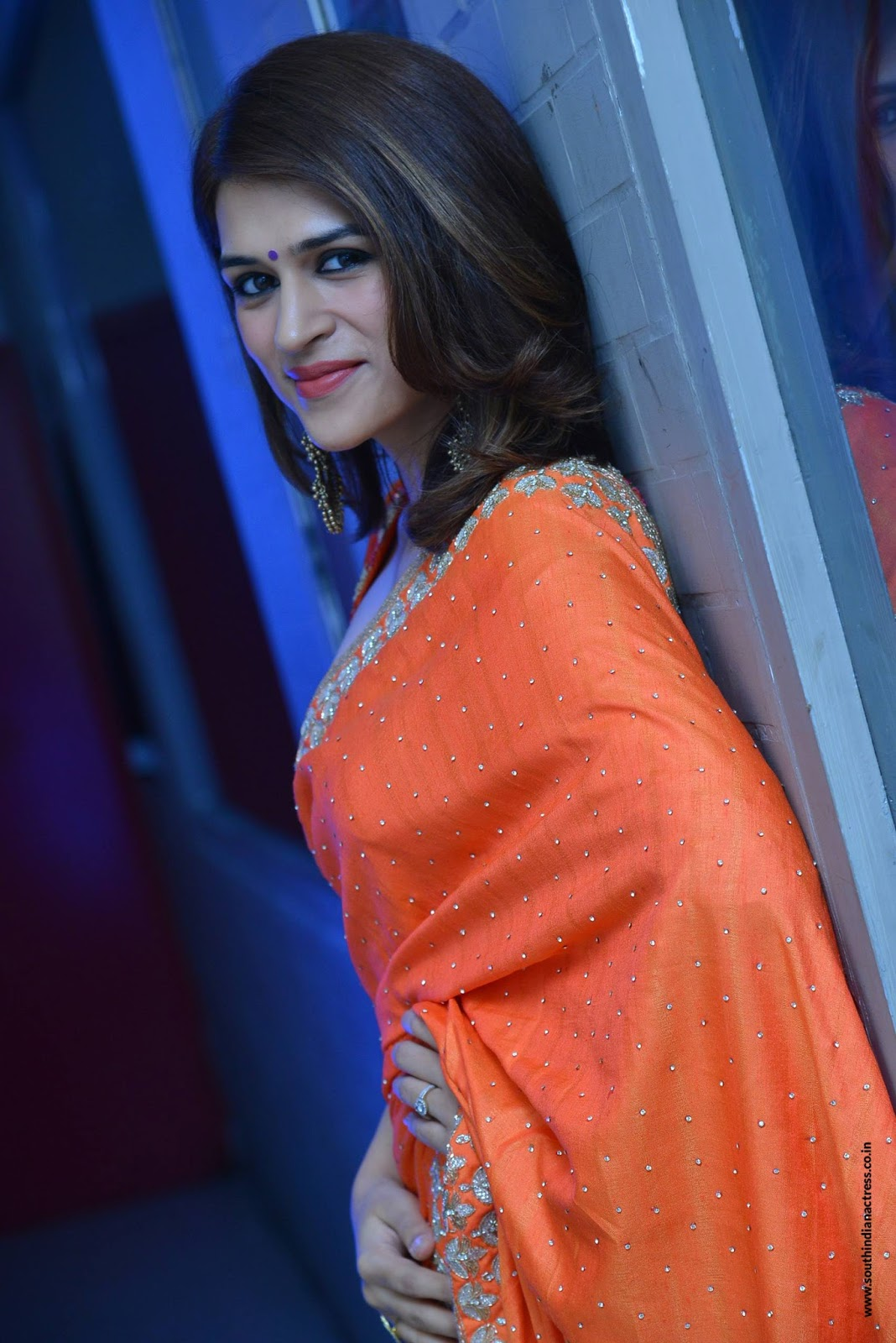 Shraddha Das in beautiful Orange Saree