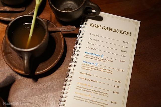 Daftar menu kopi di Rumah Lama Kopi