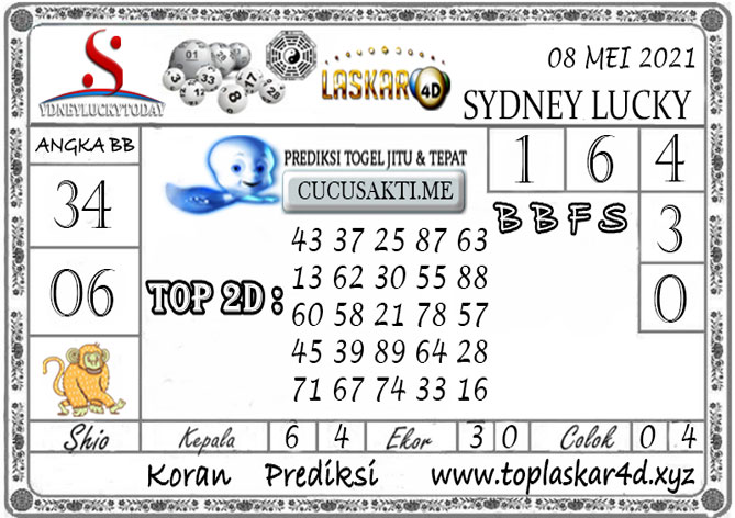 Prediksi Togel Sydney Lucky Today LASKAR4D 08 MEI 2021