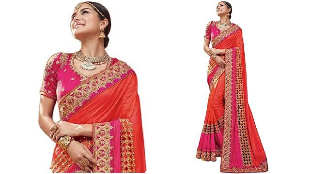 Maiya Saree Self Design, Embroidered, Applique, Paisley, Striped, Checkered Bollywood Georgette, Net Saree  (Orange, Pink)