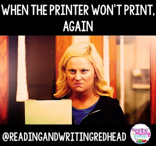 Mad lady with paper because printer is not working