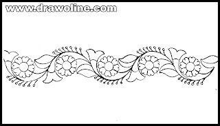 Sadi ka kinara Drawing for Embroidery design, how to draw Embroidery design for beginners,