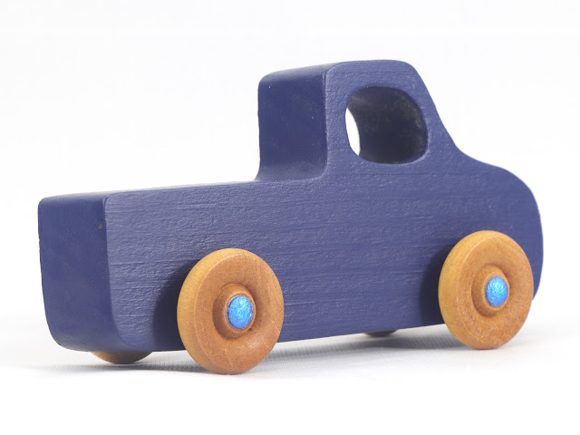 Handmade Wooden Toy Pickup Truck from the Play Pal Series Navy Blue With Metallic Blue Hubs