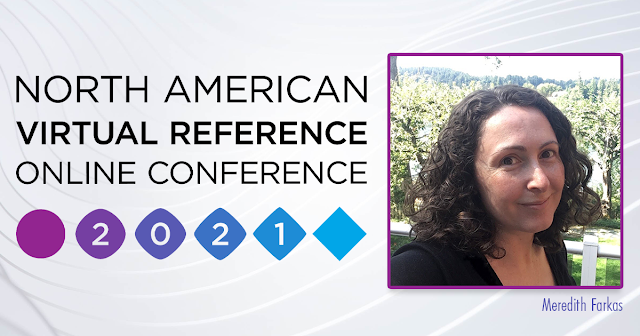 Conference logo with photo of young woman with dark hair, Meredith Farkas