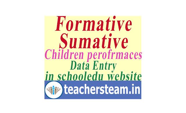 Data entry(uploading) of student performances(marks) of FA1 FA2 SA1 FA3 FA4 SA2 in CDSE Schooledu telangana website